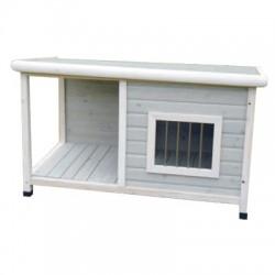 Caseta de madera con porche