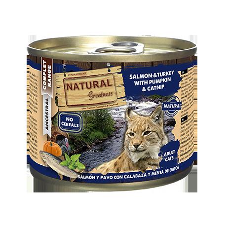 Latita para gato con Salmón pavo y calabaza