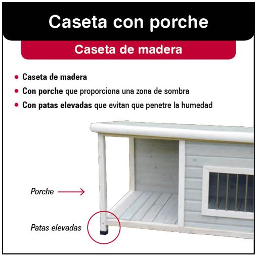 Caseta de madera blanca con porche para perro ideal para exteriores